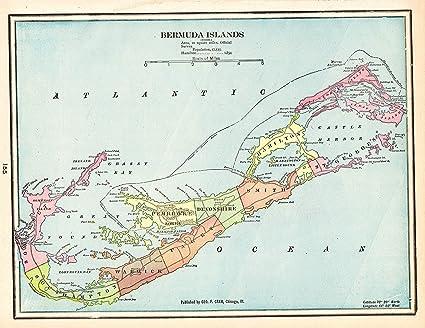 Amazon.com: Original Antique Map of Bermuda 1901 Vintage Bermuda Map ...