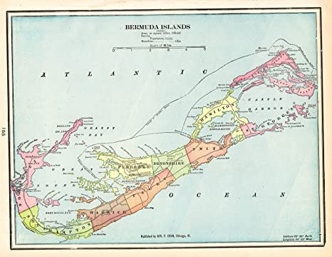 Amazon.com: Original Antique Map of Bermuda 1901 Vintage ...