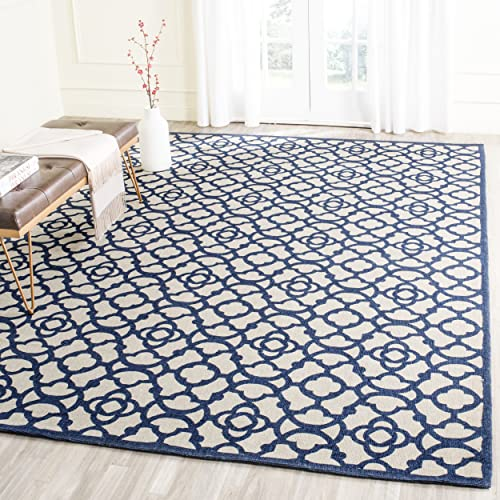 Safavieh Cedar Brook Collection CDR221F Handmade Area Rug, 8 x 10 , Ivory Navy
