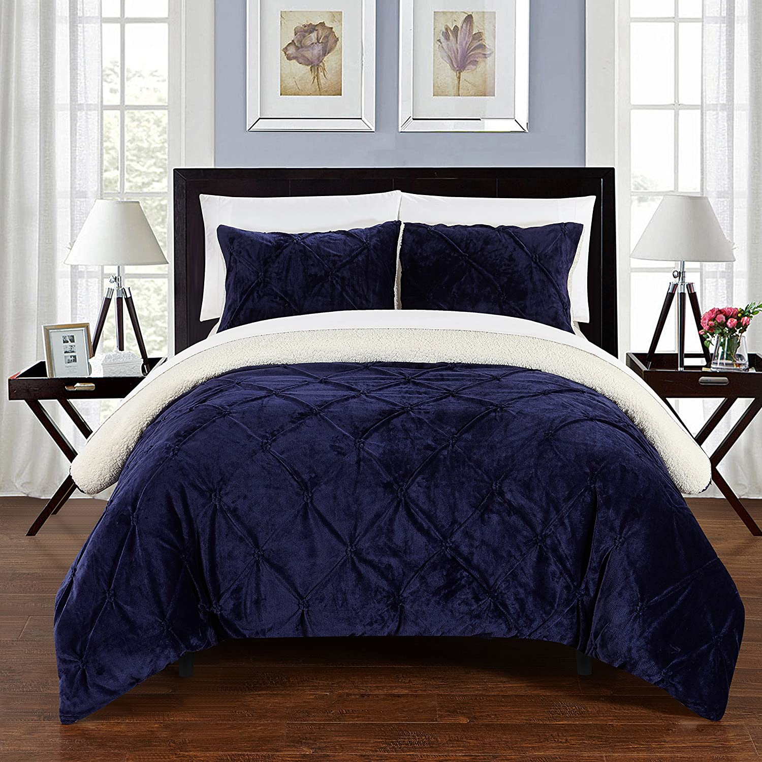 Chic Home 3 Piece Josepha Pinch Pleated Ruffled and Pin Tuck Sherpa Lined Queen Bed in a Bag Comforter Set Navy