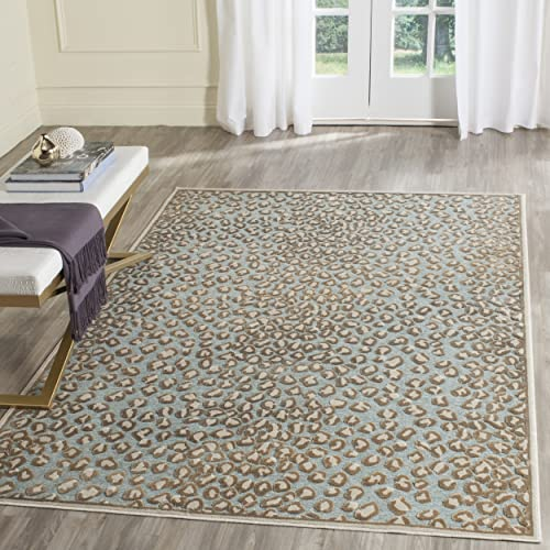 Safavieh Paradise Collection PAR84-347 Stone and Aqua Viscose Area Rug 8' x 10'