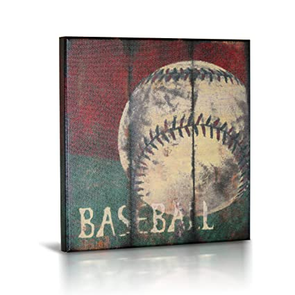 Delightful Baseball Sports Canvas Wall Art | Boys Bedroom Décor | Kids Room | Vintage  Sports Art