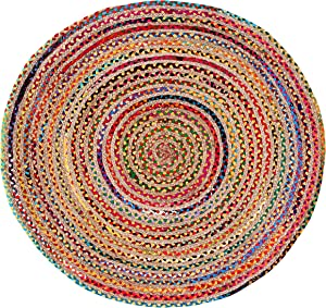 Jute Multi Chindi Round Braided, Hand Woven Reversible, Multi Colored Indian Mat Recycled Rug, Boho Decorative Rug for Kitchen, Area Rug, Living Room, Bedroom Colors May Vary- 4 Feet Round