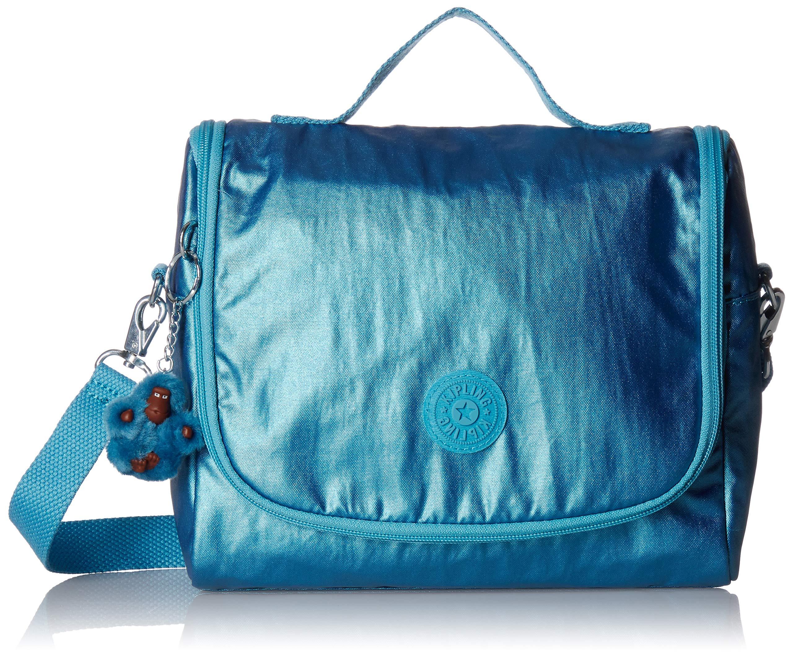Kipling Kichirou Insulated Lunch Bag, Removable, Adjustable Crossbody Strap, Zip Closure, turkish tile metallic