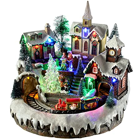 werchristmas pre lit led musical animated christmas village scene with rotating train 23 cm - Animated Christmas Village