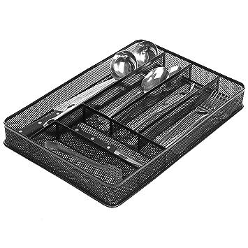 6 Compartment Metal Mesh Kitchen Utensil Drawer Organizer Insert, Cutlery  Storage Tray, Black