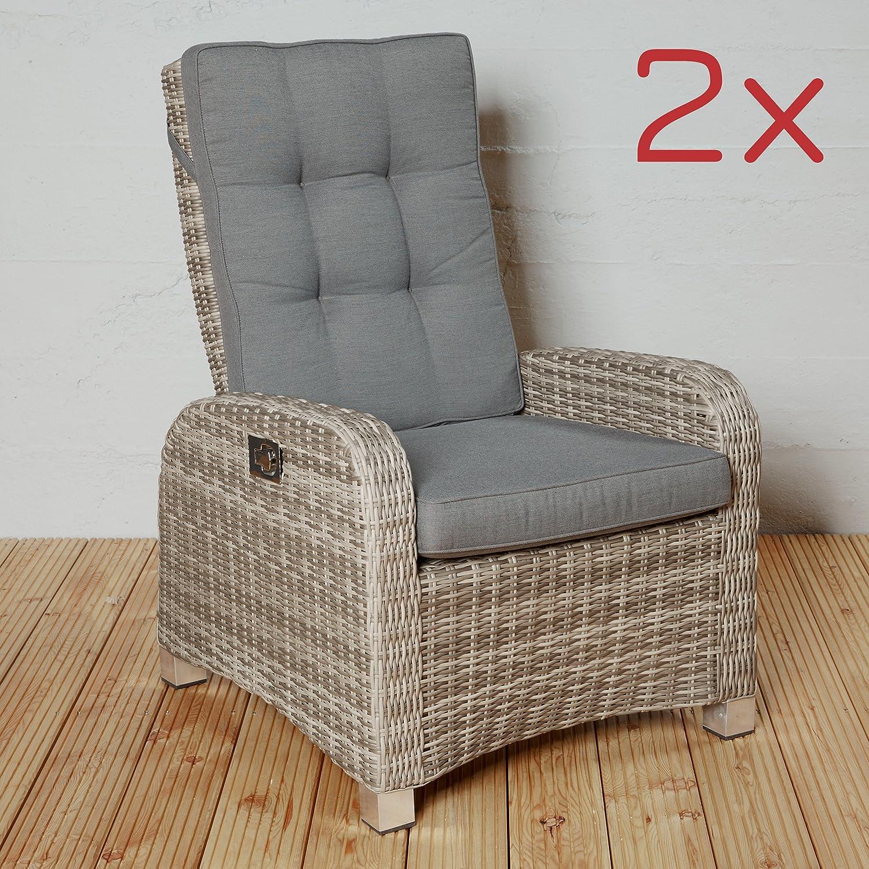 Gartensessel Gartenstühle Polyrattan braun Gartenmöbel Set 2x ...