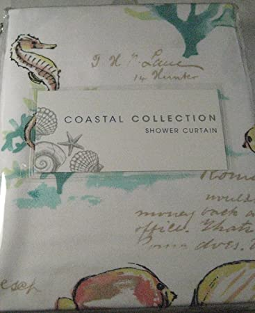 Curtains Ideas coral reef shower curtain : Amazon.com: Coastal Collection Shower Curtain Coral Reef Ombre 72 ...