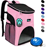 PetAmi Premium Pet Carrier Backpack for Small Cats and Dogs | Ventilated Design, Safety Strap, Buckle Support | Designed for Travel, Hiking & Outdoor Use (Pink)