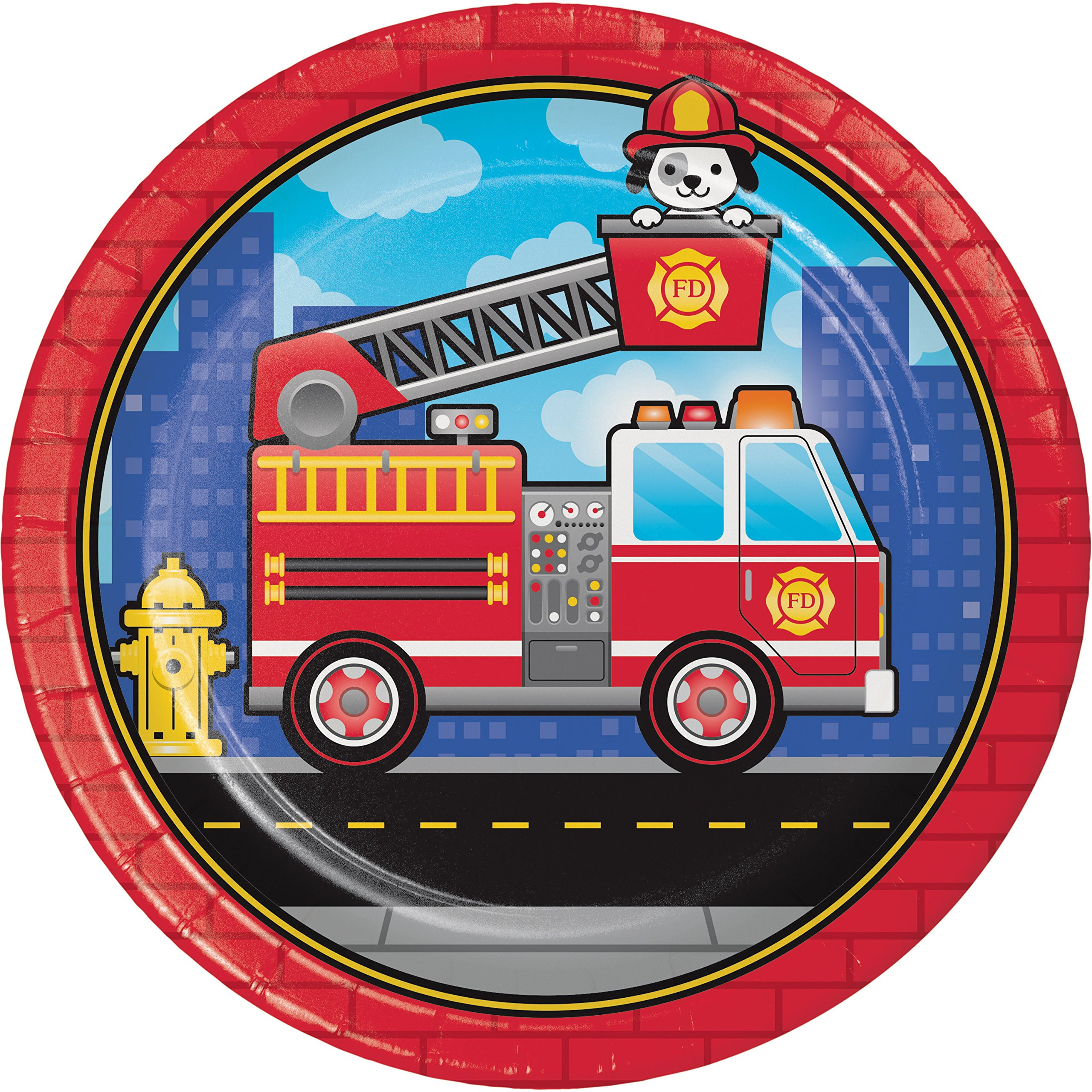 Fire Truck Paper Plates, 24 ct