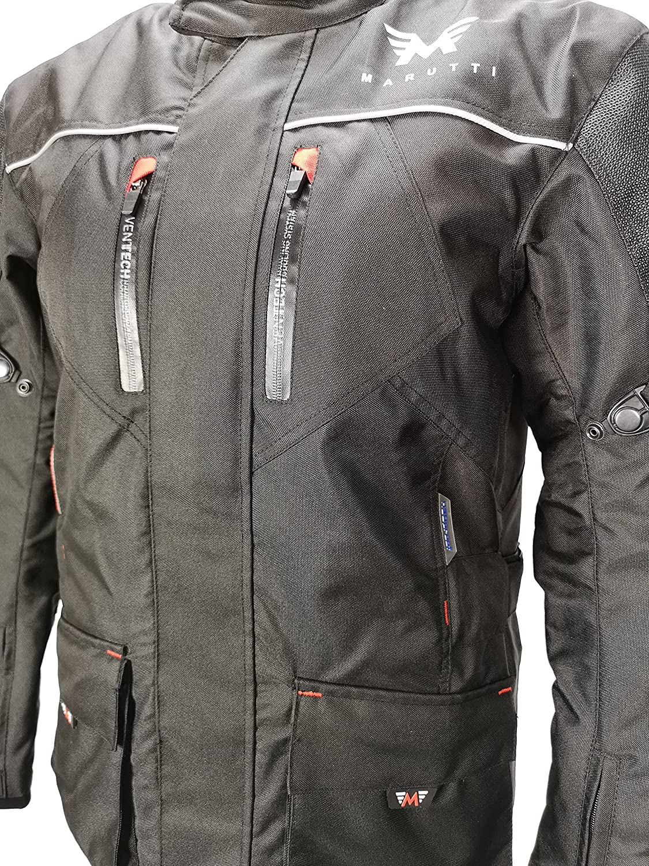 Hommes Moto Jacke Veste Lourde Motard Blouson Rembourr/és Imperm/éables en Cordura Imperm/éable Motorcycle Jacket Noir Rouge