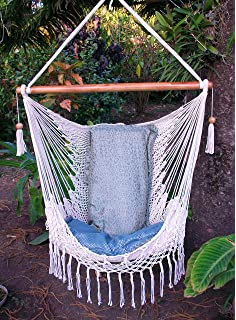 Hammock Chair With Macrame Edge Handmade Cotton Beige/ Indoor Outdoor Chair  Hammock/ Hanging Chair