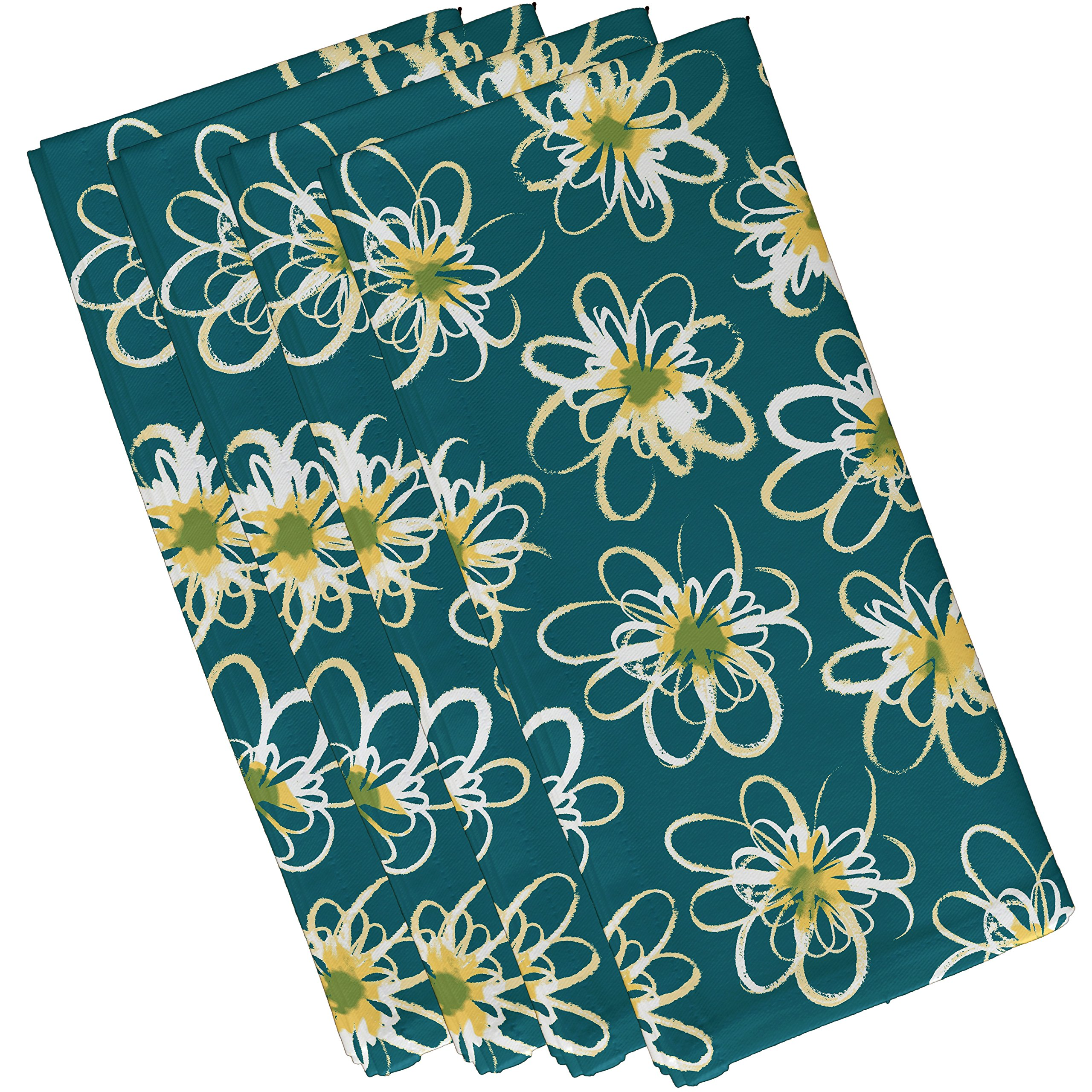 E by design Penelope Floral, Geometric Print Napkin, 19 x 19'', Teal by E by design