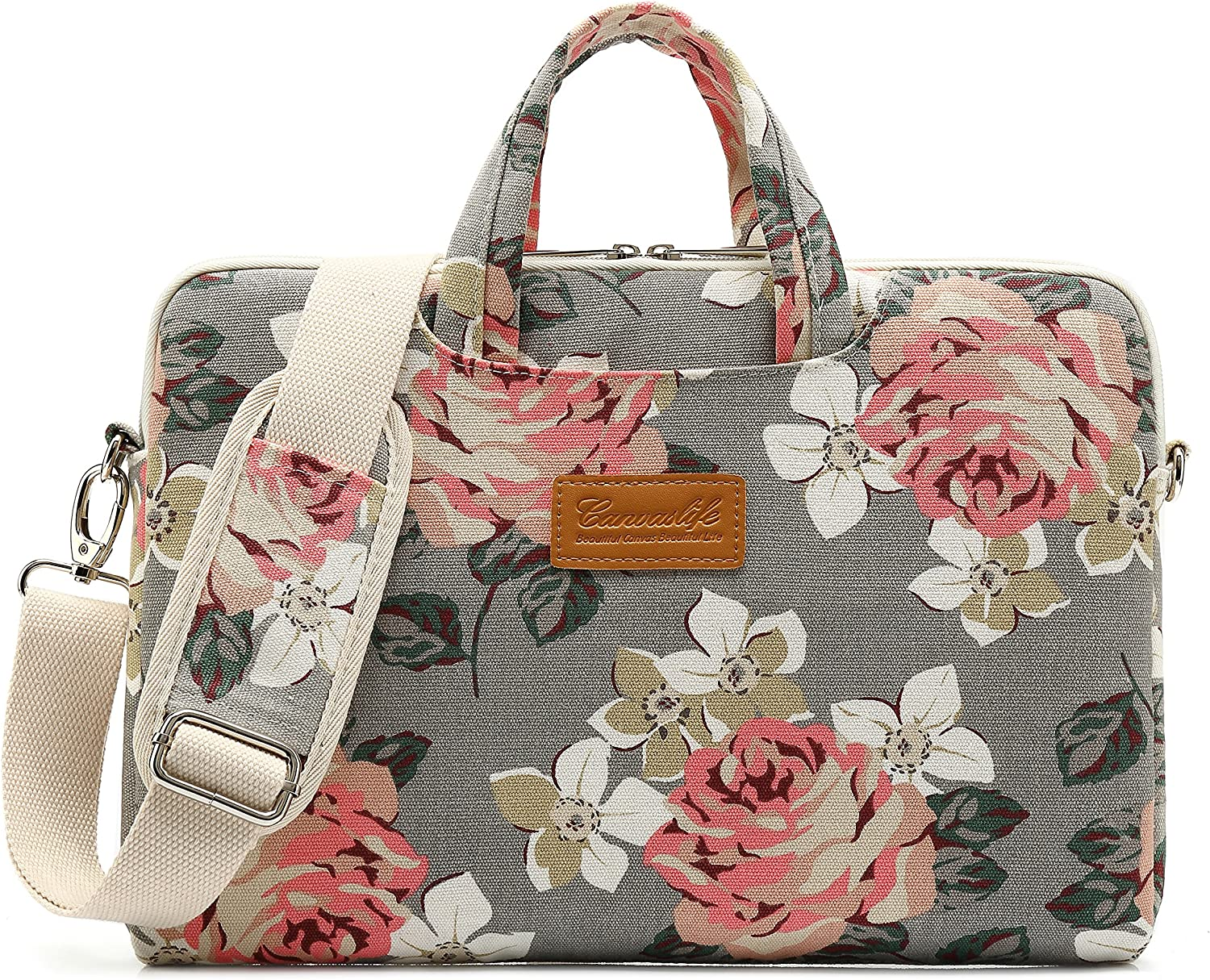 Canvaslife Grey Rose Pattern 15 inch Waterproof Laptop Shoulder Messenger Bag for 14 inch to15.6 inch Laptop and MacBook Pro 15 Laptop Case