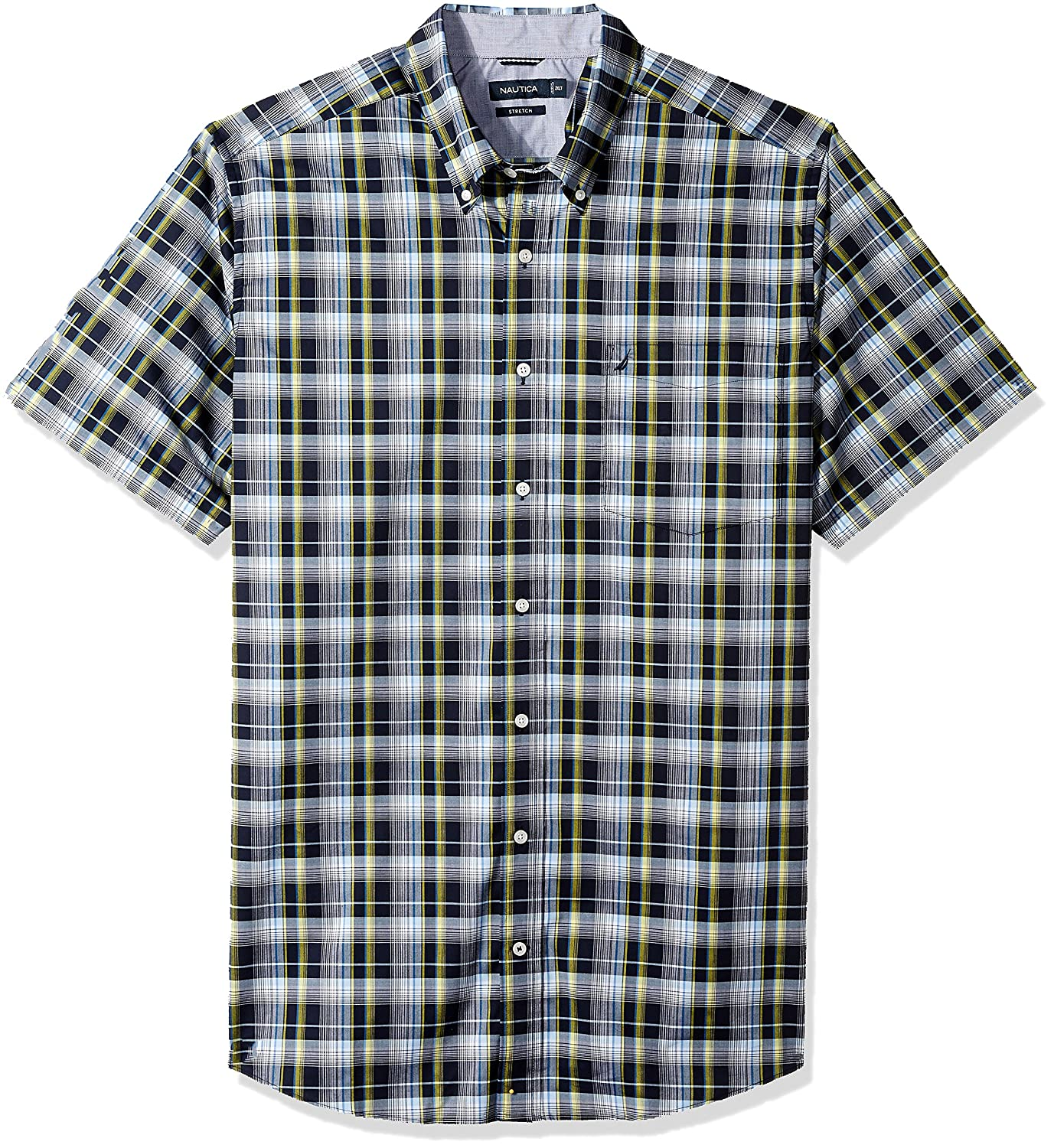 Nautica Mens Big and Tall Wrinkle Resistant Short Sleeve Plaid Button Down Shirt