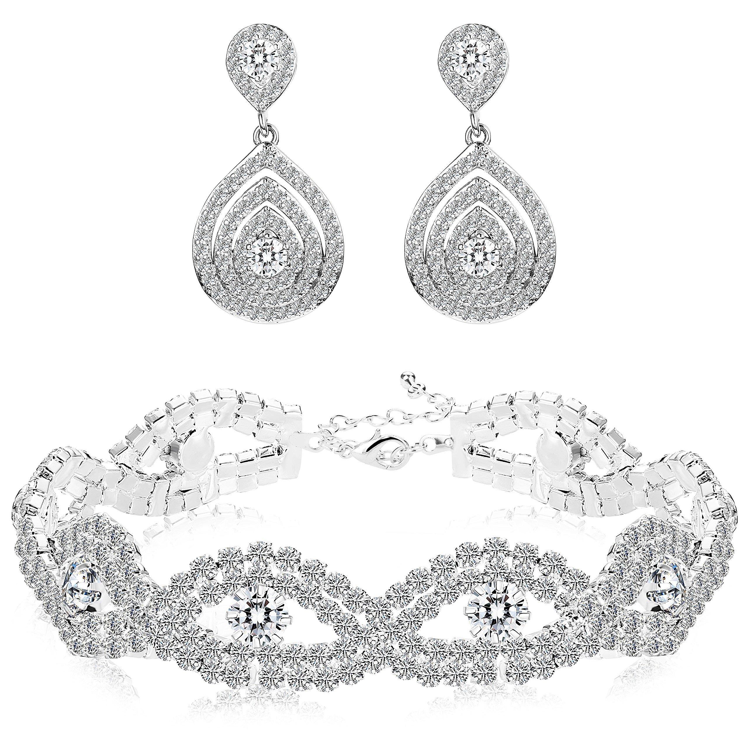 Finrezio Bridal Wedding Jewelry Set for Women Bracelets Dangle Teardrop Earrings Set Made of Clear Crystals