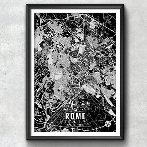 Italy Map Wall Art.Amazon Com Rome Italy Map With Coordinates Rome Wall Art Rome Map
