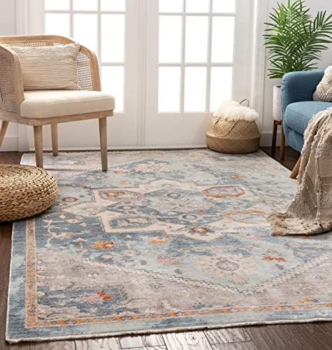 Well Woven Graz Multi Blue Vintage Oriental Medallion Area Rug 5×7 5 3 x 7 3