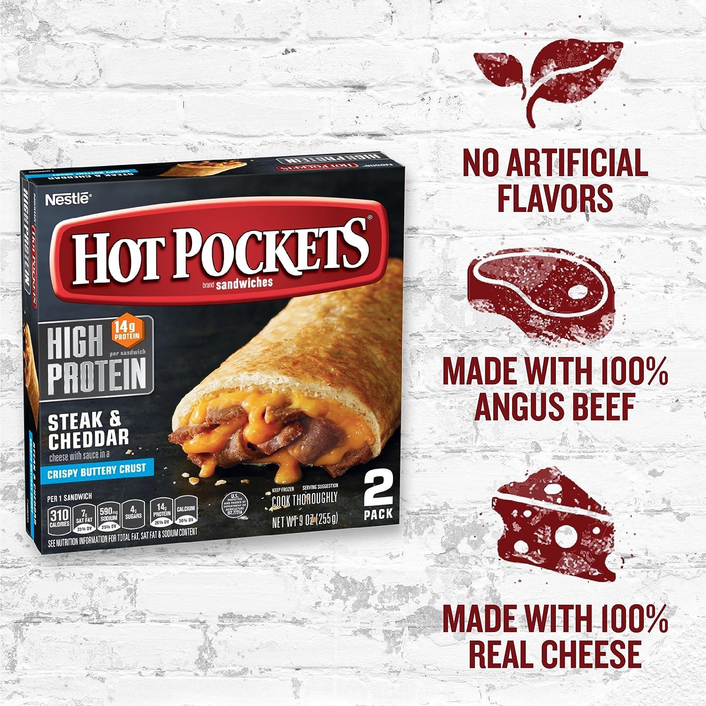 HOT POCKETS Frozen Sandwiches Steak & Cheddar 2-Pack: Amazon.com: Grocery & Gourmet Food