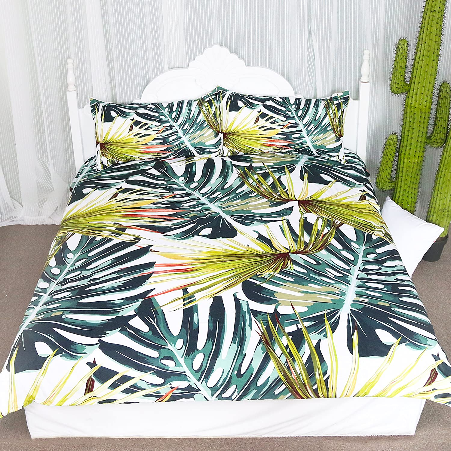 Monstera Deliciosa Duvet Cover Set, Tropical Islands Plants, 3 Pieces