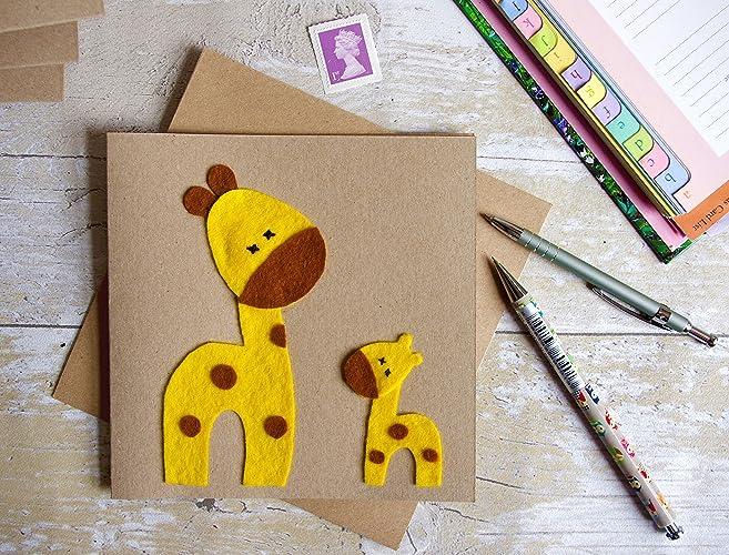 Kids Animal Birthday Card Child Birthday Card Handmade Felt Card
