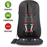 Snailax Shiatsu Massage Seat Cushion with Heat and 4 Rolling Nodes, Back and Neck Massager, Massage Chair Pad for Home Office Car use SL-261