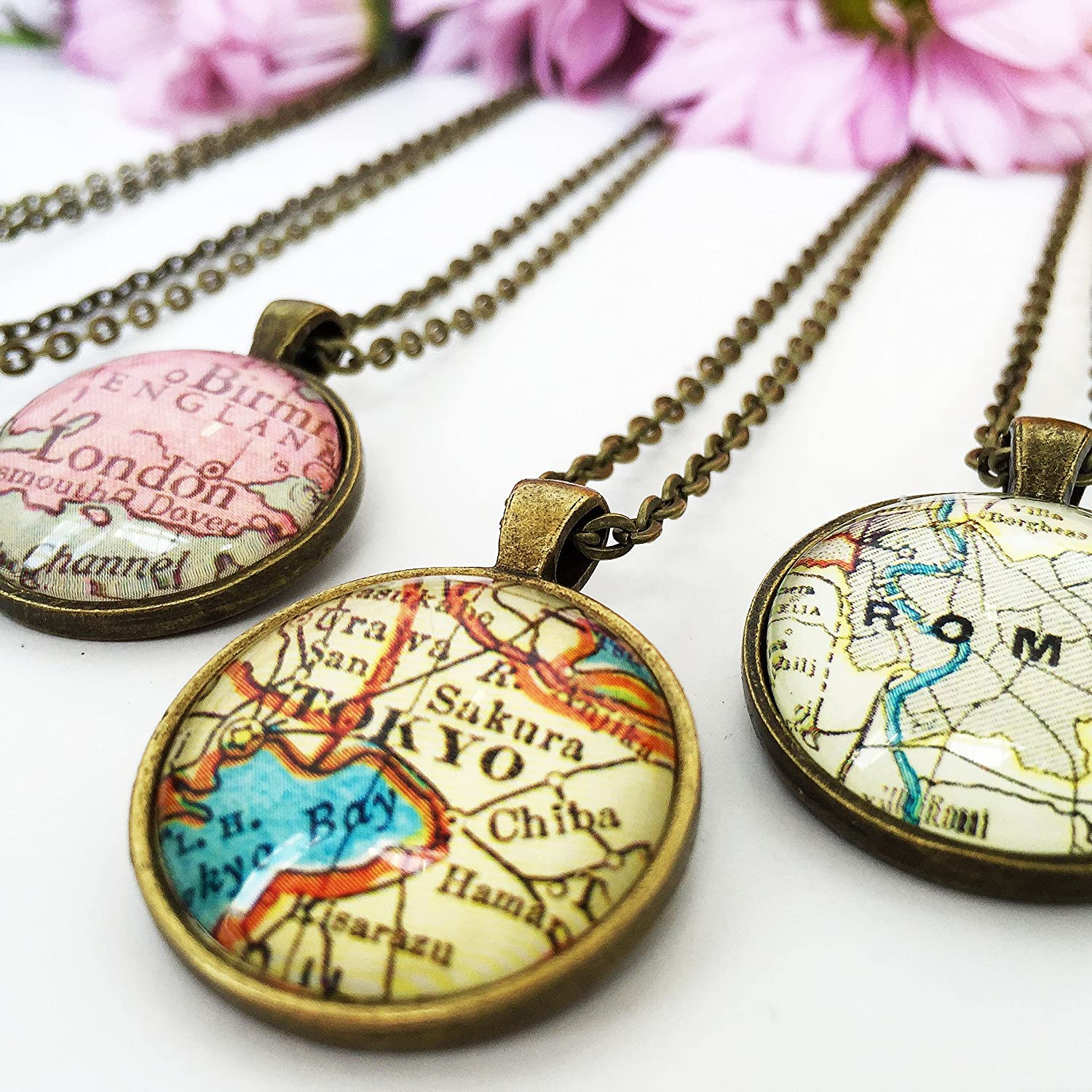 Custom jewelry available. Paper Towns Vintage Massachusetts Map Pendant Necklace by Massachusett necklace handmade from an 1953 vintage map Map necklace includes adjustable chain and gift packaging