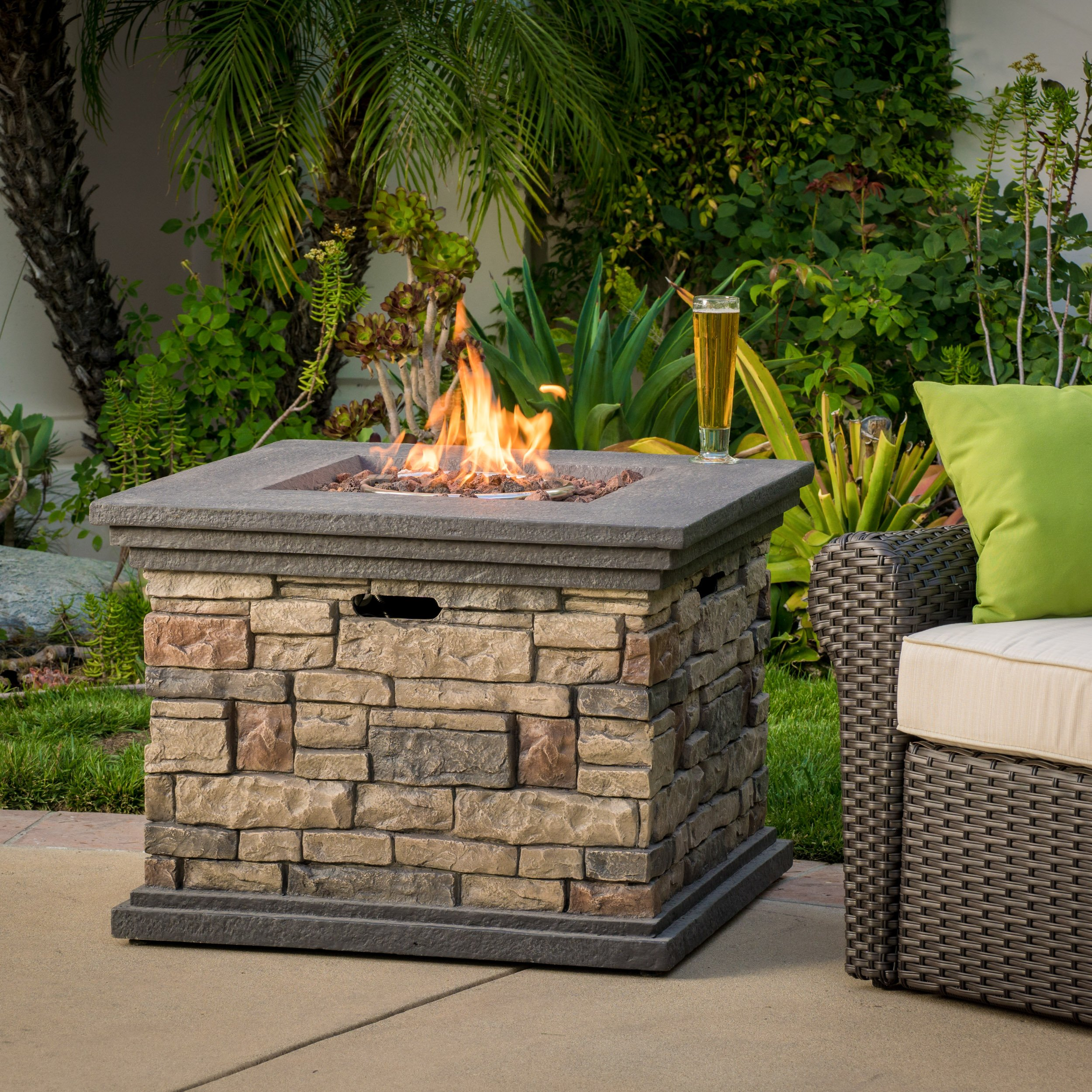 Great Deal Furniture Crawford   Outdoor Square Propane Fire Pit with Lava Rocks   with Stone Finish