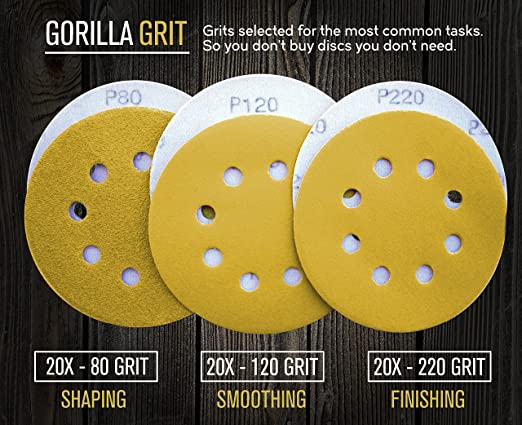 Gorilla Grit 60 PCS Sanding Discs 5 inch 8 Hole Hook and Loop for Orbital Sanders 3 Grits Assortment 20PCS Each 80/120/220 Premium Abrasive Sandpaper ...