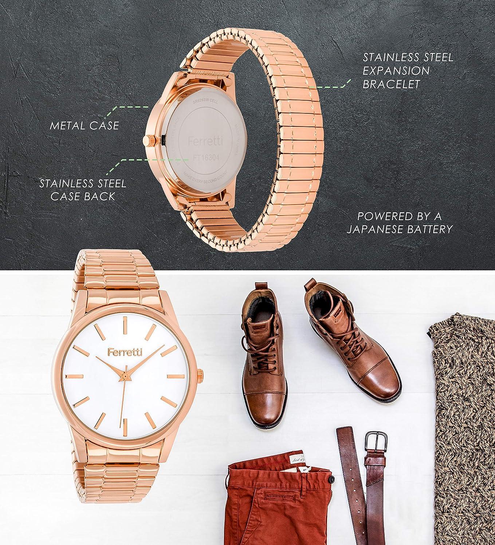 Ferretti Mixe | Montre Style Classique avec Bracelet Extensible & Boitier 38 mm | FT163 Rose Gold