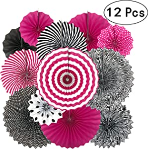 Hot Pink and Black Birthday Party Hanging Paper Fans Decorations - Women Girls Birthday Party Wedding Bridal Shower Bachelorette Carnival Party Ceiling Hangings Photo Booth Backdrops Decorations, 12pc