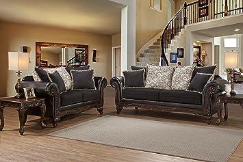 Sensational Amazon Com San Marino Ebony Black Solid Wood Frame Sofa And Machost Co Dining Chair Design Ideas Machostcouk