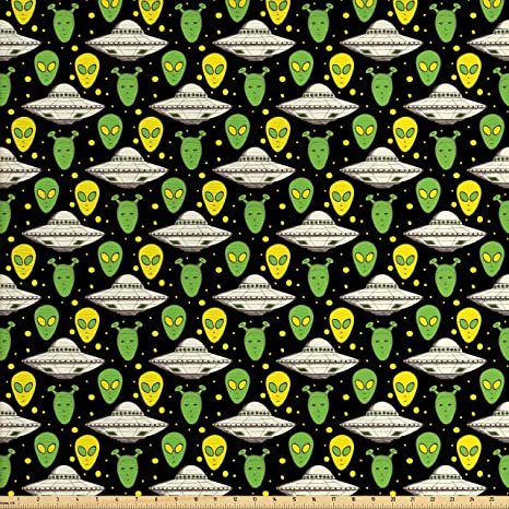 Amazon Com Ambesonne Alien Fabric By The Yard Sketch Style