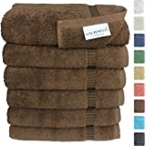 SALBAKOS Luxury Hotel & Spa Turkish Cotton 6-Piece Eco-Friendly Hand Towel Set 16 x 30 Inch, Chocolate