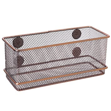 Amazon.com : Bronze-Tone Wire Mesh Magnetic Basket Storage Tray ...
