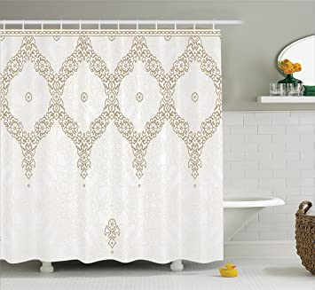 Moroccan Decor Extra Long Shower Curtain By Ambesonne, Decorative Ornate  Background With Traditional Soft Colored