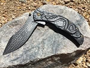 Dragon Sculptured Masters Collection Spring Assist Folding Knife (MC-A014SW) It Is the Coolest Folding Knife You'll Ever See! Makes a Great Gift! (Stonewashed)