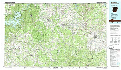 Amazon.com : Harrison AR topo map, 1:100000 scale, 30 X 60 Minute ...