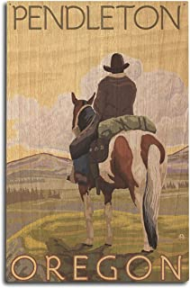 product image for Lantern Press Pendleton, Oregon - Cowboy and Horse (10x15 Wood Wall Sign, Wall Decor Ready to Hang)