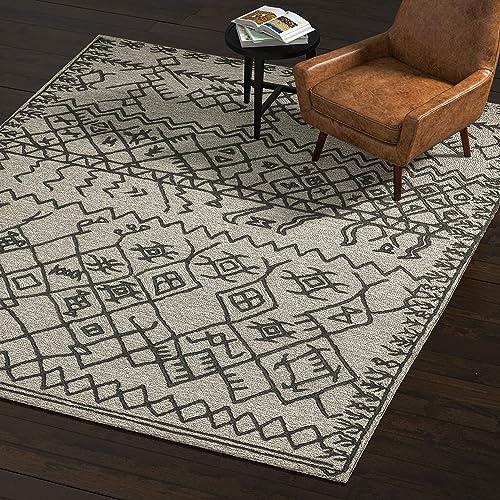 Rivet Wool Rug, 8 x 10 , Gray, Charcoal
