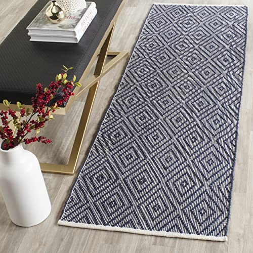 Safavieh Montauk Collection MTK811C Handmade Flatweave Navy and Ivory Cotton Runner 2 3 x 7