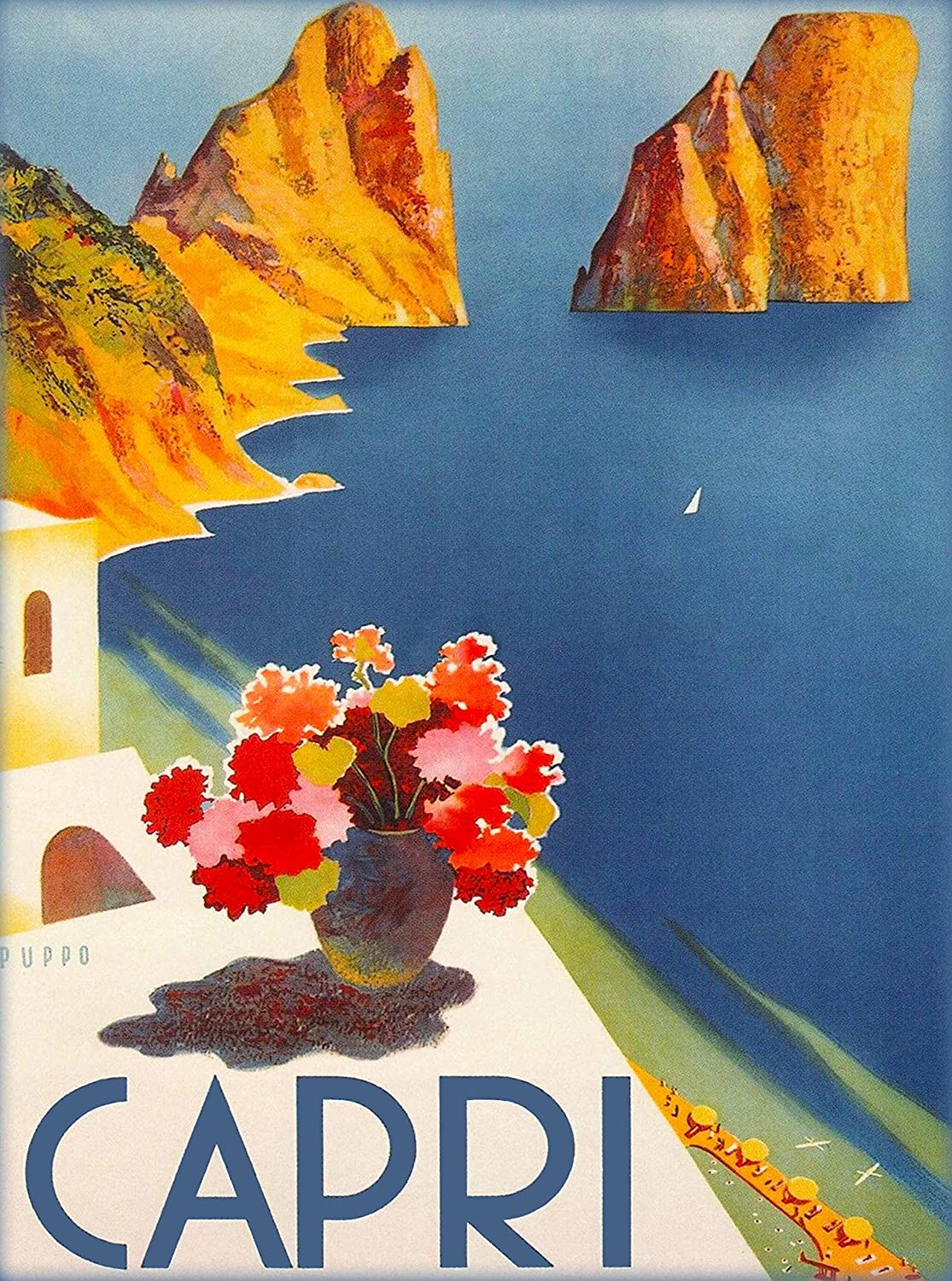 A SLICE IN TIME Capri Italy Vintage Italian Europe Art Travel Advertisement Collectible Wall Decor Poster Picture Print - Poster Measures 10 x 13.5 inches