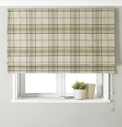 Riva Paoletti Aviemore Blackout Roman Blind Natural Beige Heritage Tartan Check Faux Wool Effect Ready Made