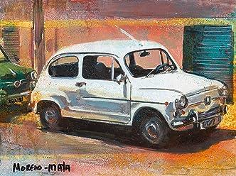 SEAT 600 Bianco Dipinto Originale Fatto A Mano