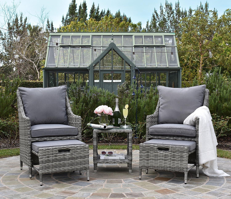 Amazon com elle décor vallauris outdoor 5 piece set gray wicker garden outdoor