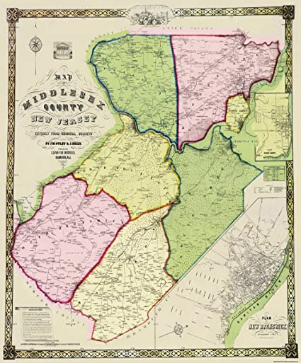 Amazon.com: Old County Map - Middle New Jersey Landowner ... on leflore county map site, tyler map site, white county map site,