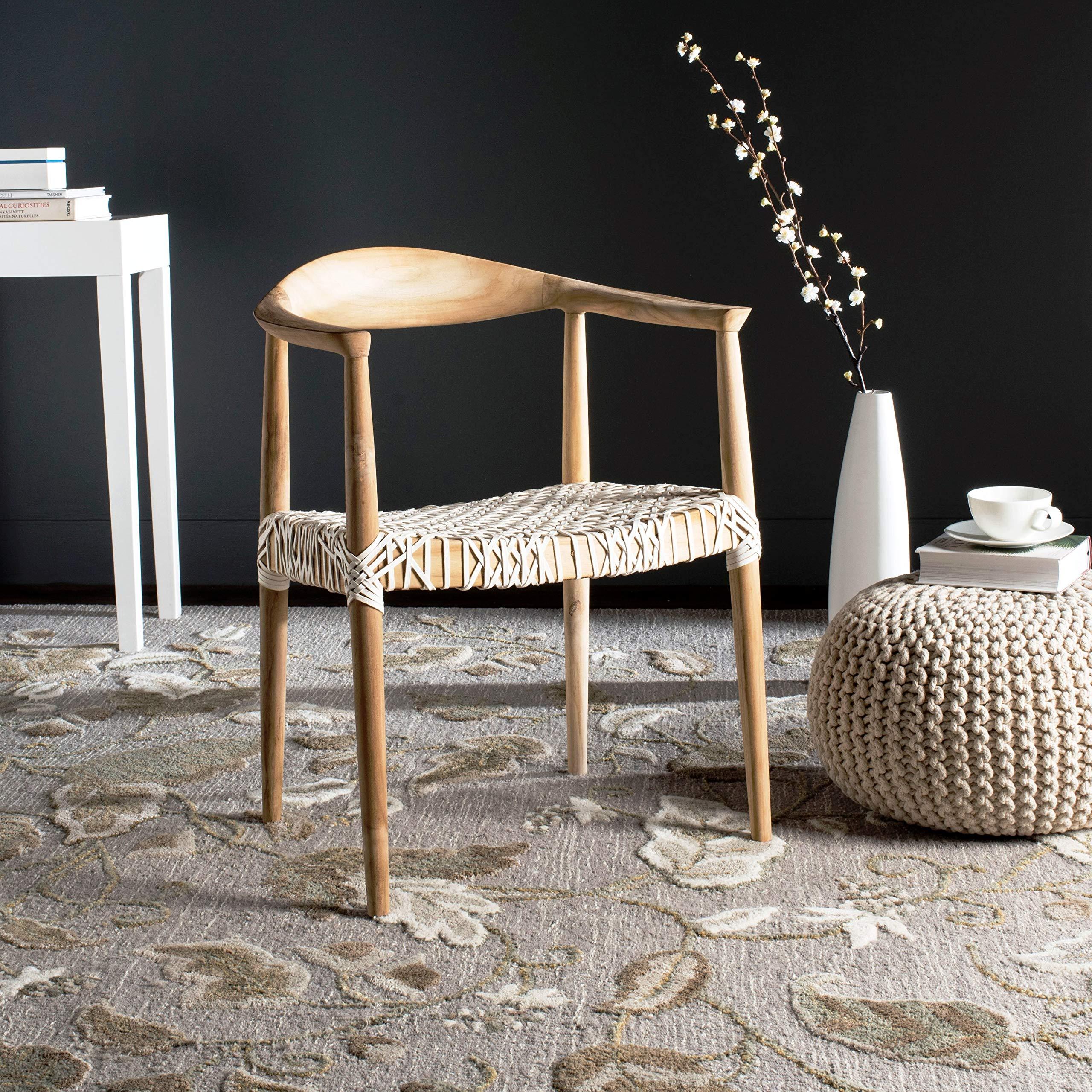 Safavieh Home Collection Wade Light Oak Teak Wood Arm Chair by Safavieh
