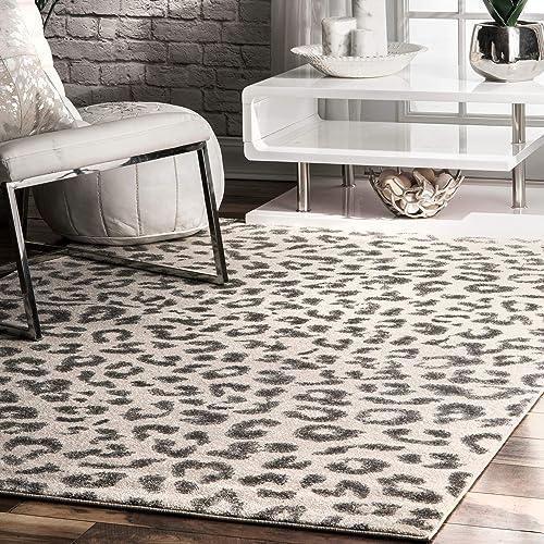nuLOOM RZBD61A Print Leopard Area Rug, 8 x 10 , Grey, Gray