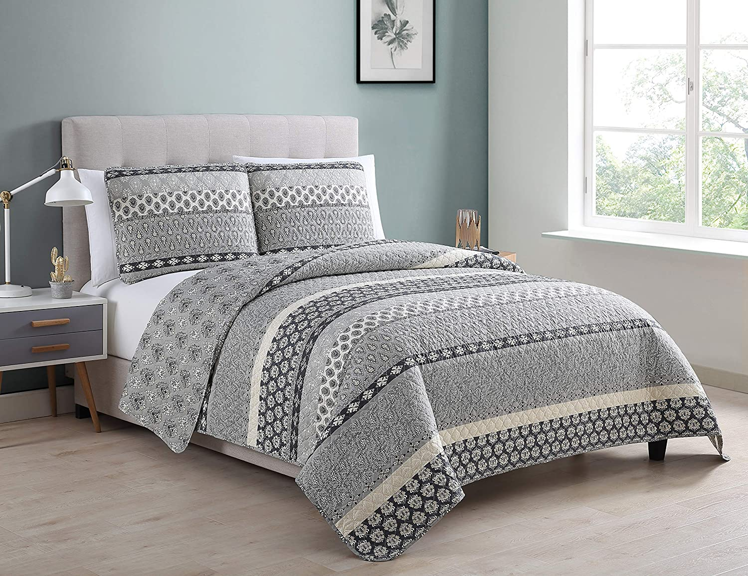 Morgan Home Printed 3 Piece Reversible Quilt Set with Shams – All Season Comfort, Available in, Colors & Sizes (Grey, Twin)