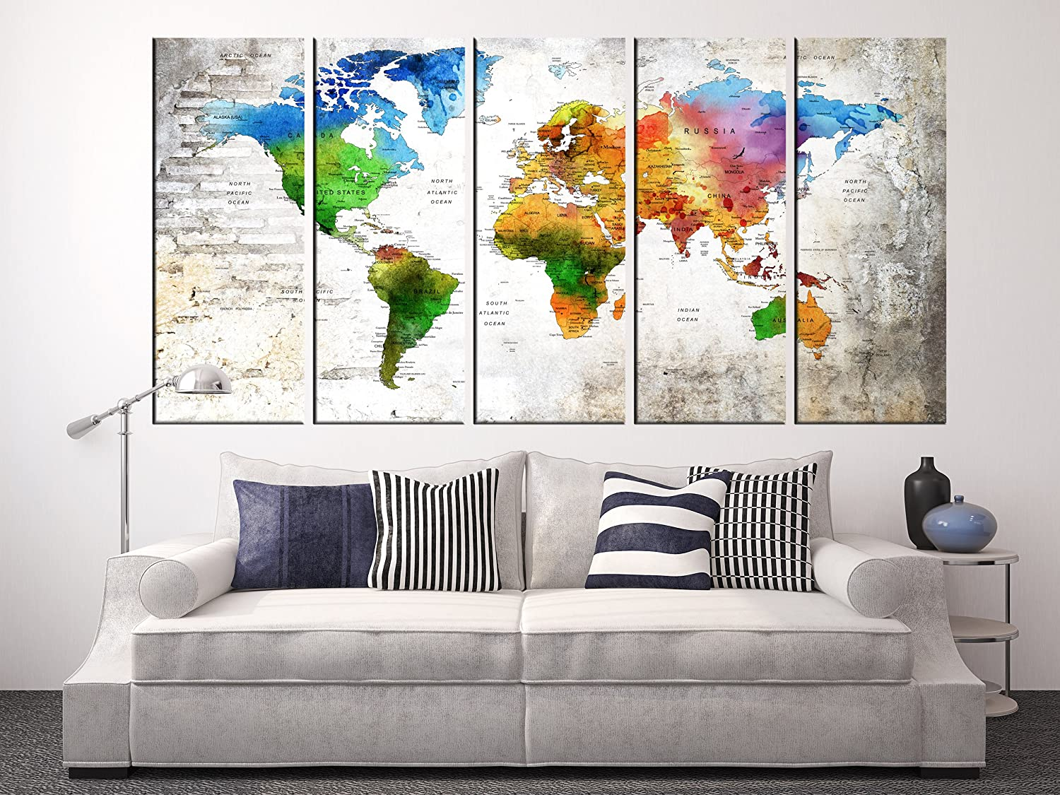 Amazon.com: Extra Large Wall Art World Map on Canvas Art ...